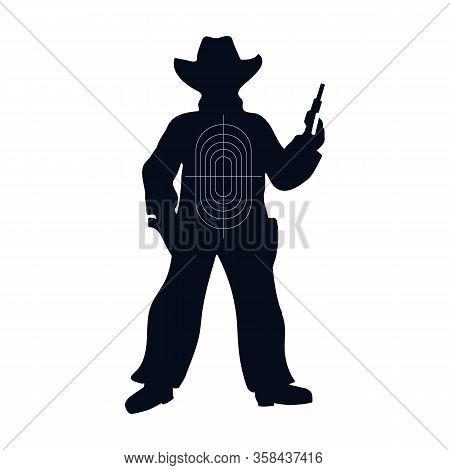 Target Cowboy Vector Icon.cartoon Vector Icon Isolated On White Background Target Cowboy.