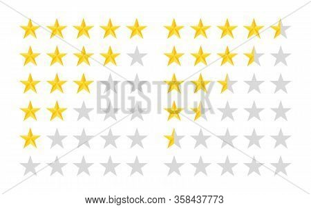 5 Star Rate Icons. Five Rating Stars On White Background. Customer Review Or Feedback. 5 Row. Gold Y