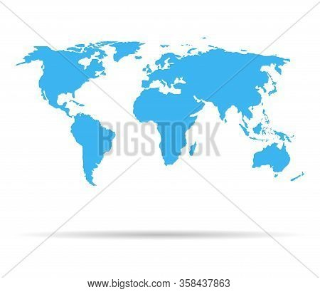 World Map. Blue Earth Isolated On White Background. Continents On The Globe. Asia, Africa, Europe, A