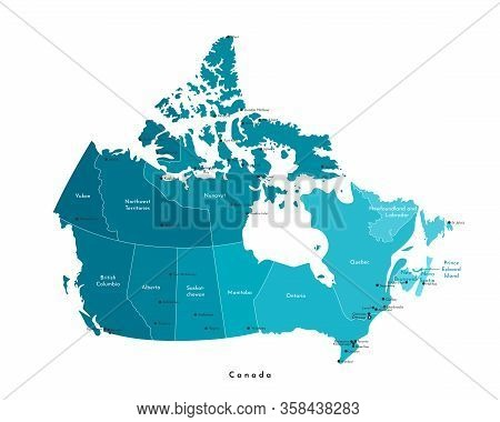 Vector Modern Illustration. Simplified Isolated Administrative Map Of Canada In Blue Colors. White B