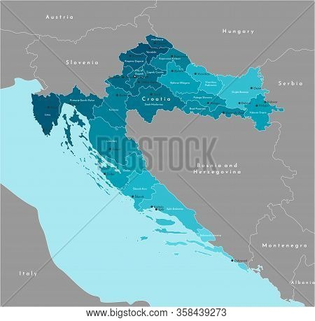 Vector Modern Illustration. Simplified Administrative Map Of Croatia And Borders With Neighboring Co