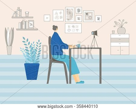 Blogging Concept. Well-balanced Lady Dressed In Cozy Clothes Talking About Life With Her Followers.