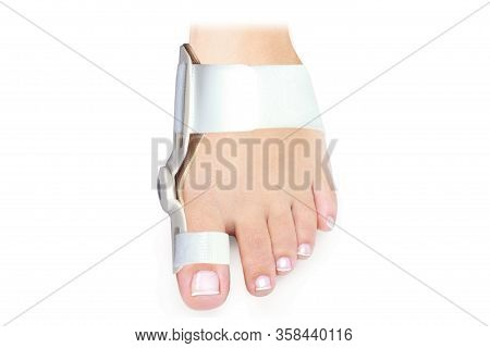 Hallux Valgus Orthopedic Medical Thumb Brace Isolated On White Background. Orthoses For Toes.