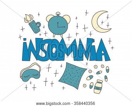 Insomnia Text Emblem With Decoration. Hand Drawn Text And Night Symbols: Mask, Moon, Stars, Pillow,