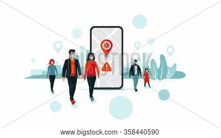 Tracking Location Smartphone App With People Wearing Face Mask