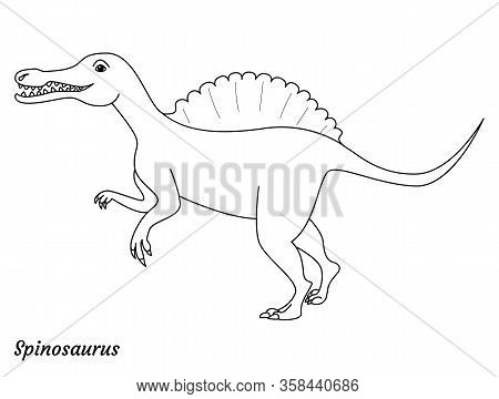 Coloring Page Outtline Spinosaurus Dinosaur. Vector Illustration Isolated On White Background