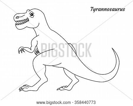 Coloring Page Outline Tyrannosaurus Dinosaur. Vector Illustration Isolated On White Background
