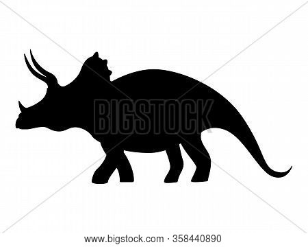 Triceratops Silhouette Isolated On White Background. Vector Illustration.