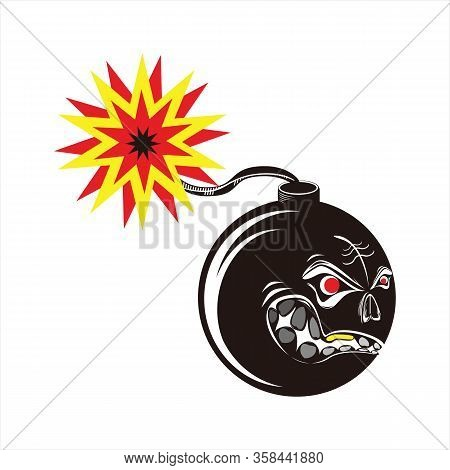 Bomb Icon, Rounded Round Bomb Vector Icon, Cartoon Bomb Icon, Black Bomb Icon, Cartoon Bomb Style Ic