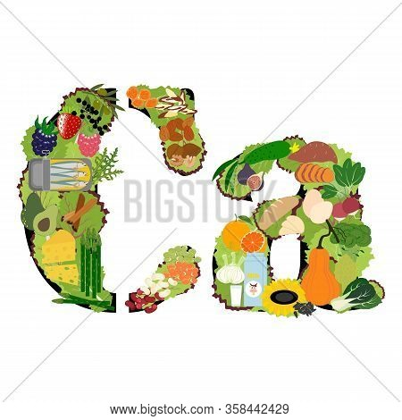 Calcium Ca Microelement Mineral Healthy Organic Nutrition Vector Illustration