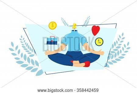Work Life Balance. Young Woman Sitting In Lotus Position And Thinking About Fulfillment. Girl Try To