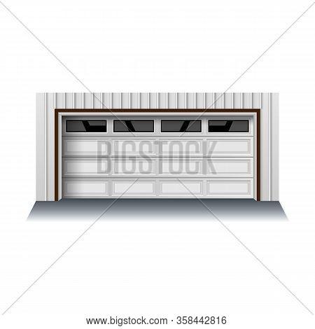 Garage Door Vector Icon.realistic Vector Icon Isolated On White Background Garage Door.