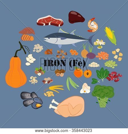 Iron Fe Mineral Microelement Healthy Organic Nutrition Vector Illustration