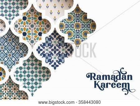 Close-up Of Colorful Ornamental Arabic Tiles, Patterns Through White Mosque Window. Greeting Card, I