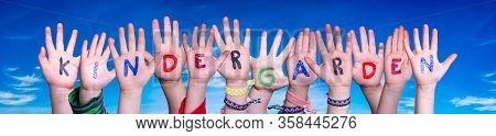 Children Hands Building Word Kindergarden, Blue Sky