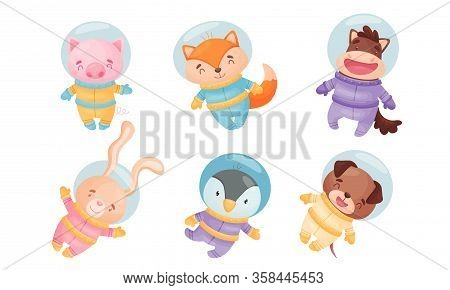Funny Animals Wearing Astronaut Costumes Or Spacesuit In Floating Pose Vector Set