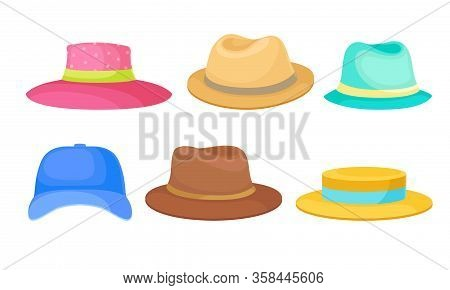 Brimmed Male And Female Hats And Caps With Ribbons Isolated On White Background Vector Set