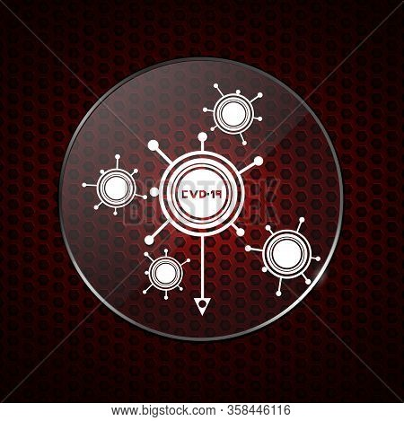 White Abstract Covid-19 Molecules Logo Contained Into Circular Metallic Border With Lens Over Red Ho