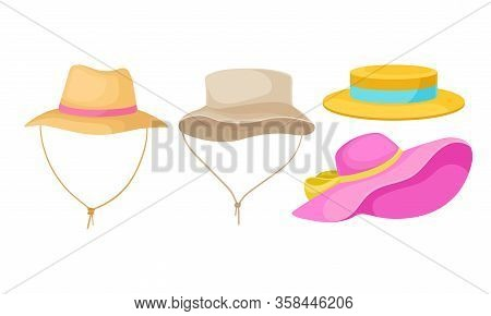 Brimmed Male And Female Hats With Ribbons Isolated On White Background Vector Set