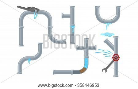 Damaged Pipe Fitting Or Adapters With Valves Isolated On White Background Vector Set