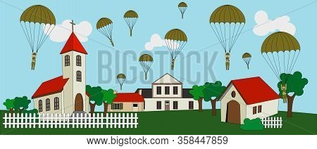 Military Paratrooper Jumping On The Village At The Day