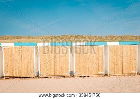 Bergen Aan Zee Netherlands Beach With Blue White Beach Cottage At The Beach Of Bergen Aan Zee Hollan