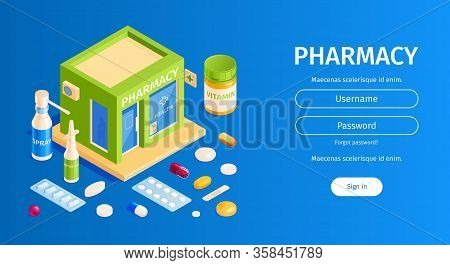 Isometric Pharmacy Horizontal Banner With Images Of Pills And Sign In Button With Username Password