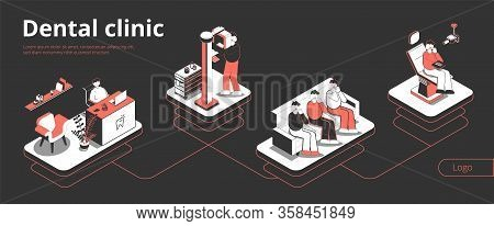 Dental Clinic Isometric Flowchart With Reception Waiting Room Xray Patient In Dentist Chair Black Ba