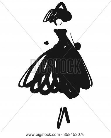 Fashion Models. Sketch. Hand Drawn Girl. Witch