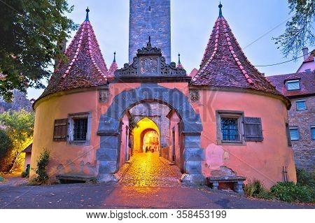 Rothenburg Ob Der Tauber. Western Town Gate (burgtor) Of Medieval German Town Of Rothenburg Ob Der T
