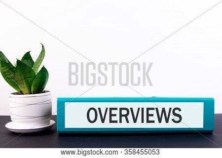 Folder With The Text Label Overviews Lies On A Dark Table With A Flower And A Light Background.