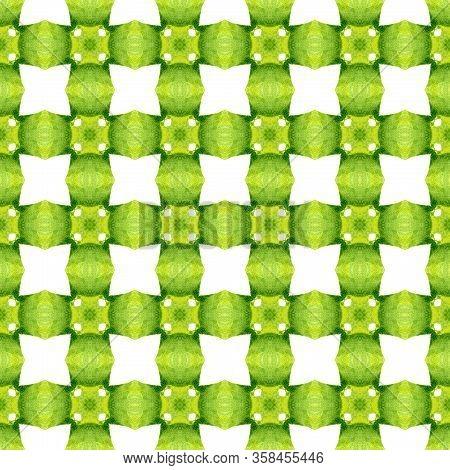 Chevron Watercolor Pattern. Green Classic Boho Chic Summer Design. Textile Ready Elegant Print, Swim