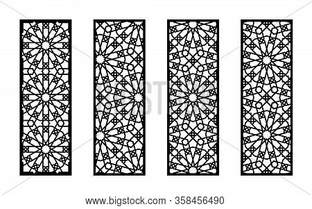 Morocco Set Of Decorative Vector Panels For Laser Cutting. Template For Interior Partition In Arabes
