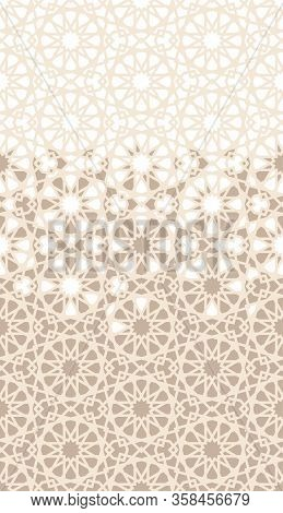 Islamic, Arabian Mosaic Repeating Vector Border, Pattern, Background. Geometric Halftone Pattern Wit