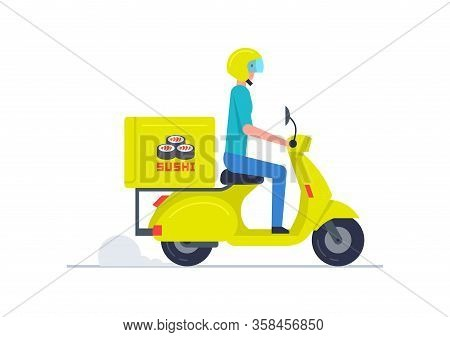 Courier Delivering Sushi On Scooter. Sushi Delivery Service. Concept Flat Design