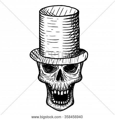 Hand-drawn Skull Of A Dead Man In A Top Hat, On A White Background. Vector Illustration