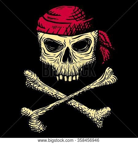 Hand Drawn Skull Of A Dead Man In A Red Bandana, With Crossbones, On A Black Background. Vector Illu