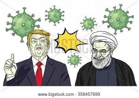 Donald Trump And Hassan Rouhani Vs Coronavirus Covid-19. Vector Cartoon Caricature Portrait Illustra