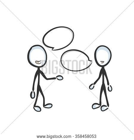 Speech Bubble, Speech Cloud. Friendly Chat. Conversation Dialogue. People Talking. Hand Drawn. Stick