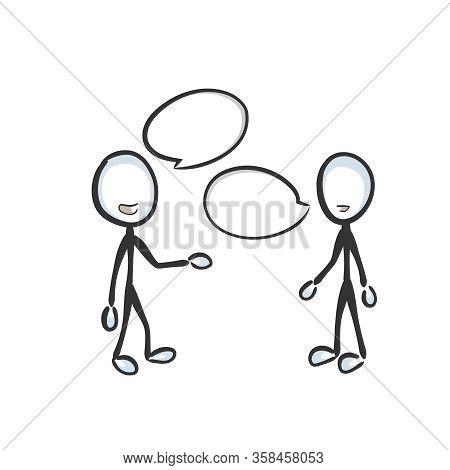 Speech Bubble, Speech Cloud. Friendly Chat. Conversation Dialogue. People Talking. Hand Drawn. Stick
