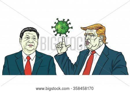 Donald Trump And Xi Jinping Discussed Coronavirus Covid-19 Threat Cartoon Vector Illustration. Washi