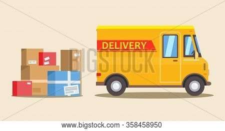 Yellow Delivery Van And Colored Cardboard Boxes At Yellow Background. Delivery Service Concept. Prod