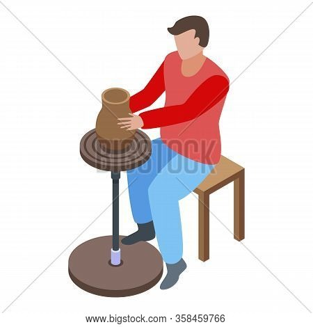 Man Pottery Icon. Isometric Of Man Pottery Vector Icon For Web Design Isolated On White Background