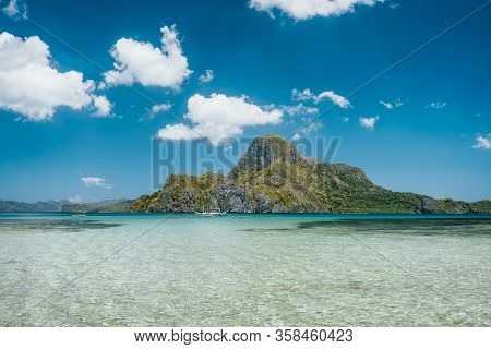El Nido Bay With Beautiful Cadlao Island In Open Ocean On Sunny Holiday Day, Palawan, Philippines