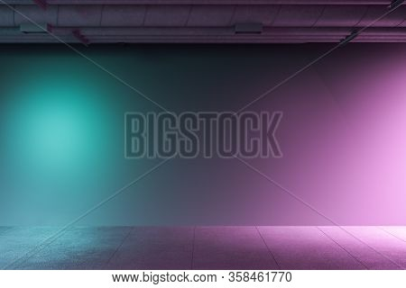 Concrete Interior Room With Communication Pipes On Ceiling, Color Backlight And Blank On Wall. 3d Re