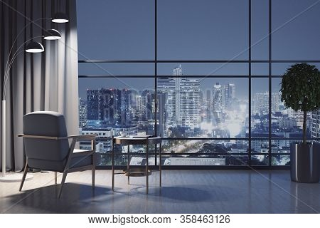 Chair And Decorative Table In Luxury Living Room With Night City View. Design And Style Concept. 3d
