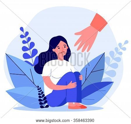 Young Woman Getting Help And Cure From Stress Flat Vector Illustration. Girl Feeling Anxiety And Lon