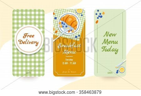 Free Delivery, Breakfast Menu, New Menu Today Social Media Stories Vector Templates, Isolated On Whi