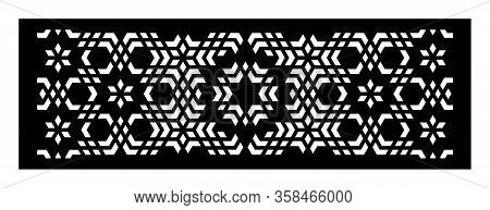 Moroccan Decorative Cut Out Vector Panel For Laser Cutting. Template For Interior Partition In Arabe