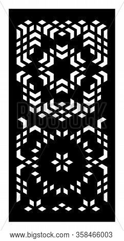 Decorative Geometric Flowers Vector Panel For Laser Cutting. Template For Interior Partition In Arab